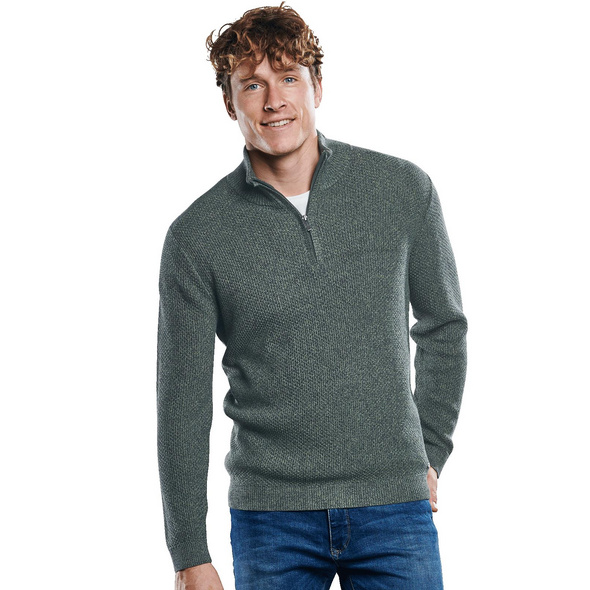 Strukturierter Pullover mit Polokragen