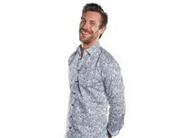 Streifendruck Hemd mit floralen Elementen