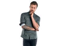 Modisches Langarmhemd mit dezenten Kontrastdetails